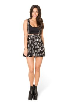 Triangle Silver Pinafore Skater Skirt - LIMITED › Black Milk Clothing