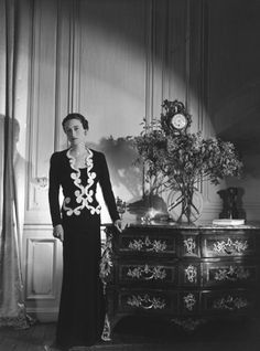Wallis Simpson in a baroque detailed Elsa Schiaparelli gown photographed for Vogue, June 1937 by Cecil Beaton.