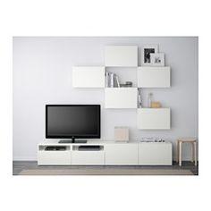 IKEA - BESTÅ, Tv-meubel, combi, wit/Valviken grijsturkoois, laderail, zachtsluitend, , De lades en de deuren gaan door de zachtsluitende functie zacht en stil dicht.Door de plaatsbesparende wandkasten kan je de ruimte boven de tv ook gebruiken.Alle snoeren van de tv en andere apparatuur zijn eenvoudig uit het zicht, maar binnen handbereik te houden, omdat er aan de achterkant van het tv-meubel meerdere snoeropeningen zitten.Door de uitsparing aan de bovenkant kan je snoeren gemakkelijk ...
