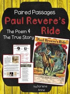 Paired Passages  Paul Revere: The Poem and the True Story- ready to PRINT and GO!