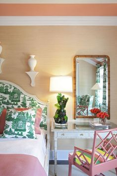 Designer Tobi Fairley featured Juicy Jute Grasscloth 4821 Papaya in bedroom at the 2011 Hamptons Designer Showhouse.