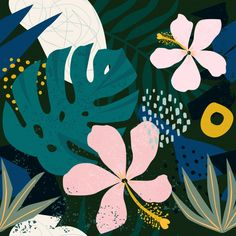 Caribbean Monstera Leaves Hibiscus Flowers Dark Sensual Tropical Style Art Print by seam-less Tropical Flowers, Hawaiian Flowers, Tropical Art, Tropical Style, Hibiscus Flowers, Exotic Flowers, Jungle Pattern, Motif Jungle, Illustration Blume