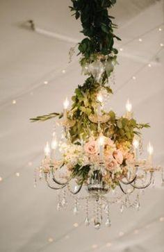 Green and Blush Floral Chandelier Wedding Reception Decor