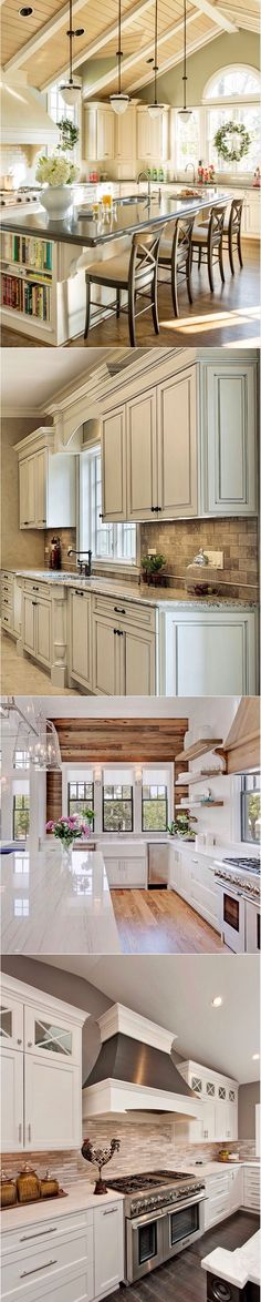 Who doesn't wanna a huge kitchen like this? Love the cream cabinets, granite & backsplash combo! The Cathedral ceilings really make the room feel so much larger. Perfect for a kitchen. #kitchenremodeling