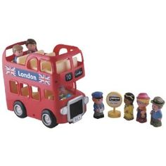 This London Bus is a fun toy.  It includes people and a top deck that children can put on or remove themselves.  The bus has a couple of buttons and makes some noises (does every single toy require batteries?).  This toy teaches about other countries and transportation.  It's a nice size.