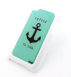 WHITE Snap On Case for APPLE IPOD TOUCH 4 / 4G / 4th Gen Generation Plastic Cover - REFUSE TO SINK ANCHOR teal hope beach faith love chevron tiffany mint blue hipster by Milkyway Body Jewelry, http://www.amazon.com/dp/B00E3G3A22/ref=cm_sw_r_pi_dp_g4Lbsb1N4ZBE8