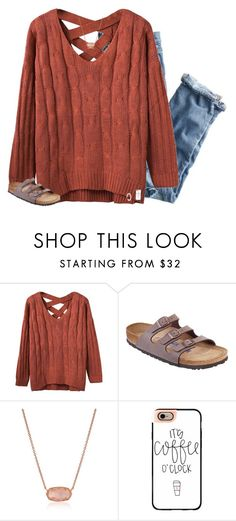 """""""raindrops droptop"""" by preppin ❤ liked on Polyvore featuring J.Crew, Birkenstock, Kendra Scott, Casetify and Kate Spade"""