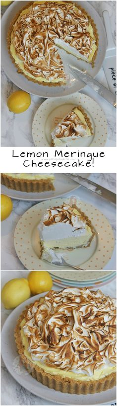 Lemon Meringue Cheesecake!  A Buttery Biscuit Base, Smooth Lemon Cheesecake Filling, and an Italian Meringue make this No-Bake Lemon Meringue Cheesecake the perfect Dessert & Showstopper!