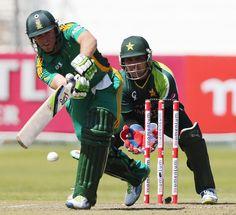 AB de Villiers (SA) 75, pushes one through the leg side, vs Pakistan, 4th ODI, Durban, March 21, 2013