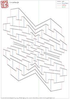 "DIY Template - ""CrossTangle I"" Kirigami Pop-up paper sculpture"