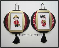 Pascaline Biard 2 mini lampions kokeshi R New Year's Crafts, Fun Diy Crafts, Crafts For Kids, Diy Paper, Paper Crafts, New Year Art, Chinese New Year Crafts, Small Lamps, Silk Painting