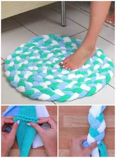 Make an original bathroom rug with towels Diy Crafts For Home Decor, Creative Crafts, Diy Crafts To Sell, No Sew Fleece Blanket, Hand Knit Blanket, Diy Tapis, Recycle Old Clothes, Pom Pom Rug, Old Towels