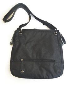 6538da42fbbf Black Flat Handbag. Faux leather