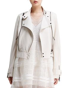 $3,450, White Leather Biker Jacket: Chloé Lightweight Lambskin Leather Jacket Off White Chloe. Sold by Neiman Marcus. Click for more info: http://lookastic.com/women/shop_items/40073/redirect