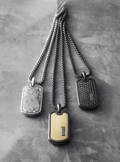 Distinctive men's tags are style essentials all year round.