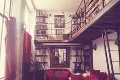 books, stairs and big windows