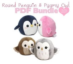 "PDF sewing pattern bundle - Owl and Penguin plush - cute easy kawaii stuffed animal DIY plushie 4.5"" round handheld size"