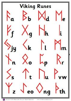 A legend depicting the symbol's letters transliterated from the Latin alphabet. Alphabet Code, Alphabet Symbols, Ancient Alphabets, Ancient Symbols, Mayan Symbols, Egyptian Symbols, Celtic Symbols, Alfabeto Viking, Symbole Viking