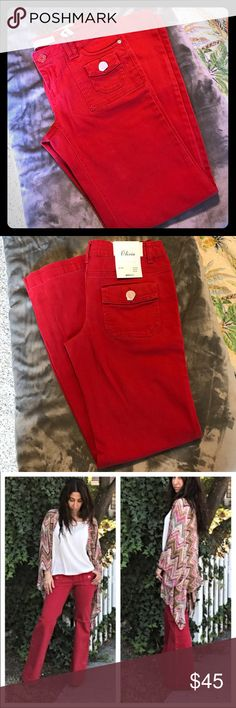 Olivia - 30/32 original fit Ladies Red Jeans: low waist, flare leg. Original Fit. NWT! Beautiful color and stunning quality! ••• 98% cotton/2% elastane ••• gina jeans Jeans Flare & Wide Leg