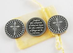 Set of 3 Faith is the Substance Pocket Tokens by CourageInStone, $6.00