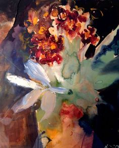 """""""Primula Auricula"""" by Kate Osborne. Gouache painting on Paper, Subject: Flowers and plants, Impressionistic style, One of a kind artwork, Signed on the front, This artwork is sold unframed, Size: 20 x 23 cm (unframed), 7.87 x 9.06 in (unframed), Materials: Gouache and collage  on 100% rag paper Kate Osborne, Primula Auricula, Gouache Painting, Flower Photos, Lovers Art, Impressionist, Flower Power, Still Life, Buy Art"""