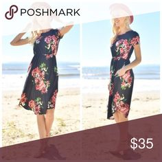 Boho Black Coral Floral Midi Dress S M L Black coral  floral midi dress w/pockets, Rayon Spandex Blend.  Available in size Small,  Medium, or Large. No Trades, Price Firm unless Bundled.  BUNDLE 3 OR MORE ITEMS FOR 15 % OFF. Boutique Dresses Midi