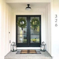 Black front doors Black steel and glass front door Modern Farmhouse Black front doors Black steel and glass front door House Design, House Front Door, Glass Front Door, House Exterior, Farmhouse Front Door, Home Renovation, Farmhouse Entry, Modern Farmhouse, Entrance Design