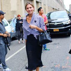 Marina Larroudé in Comme de Garçons PLAY stripe shirt & knit skirt #StreetStyle