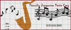 Diy Embroidery, Cross Stitch Embroidery, Cross Stitch Patterns, Saxophone, Crochet Music, Cross Stitch Music, Le Point, Projects To Try, Sewing