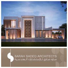 2000 m plot private villa kuwait , Sarah sadeq architects Islamic Architecture, Modern Architecture House, Facade Architecture, Residential Architecture, Classic House Design, Modern Villa Design, House Front Design, Facade Design, Exterior Design