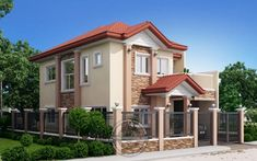 Andres, Two Storey House with Firewall - Pinoy House Designs Architecture Magazines, Amazing Architecture, Architecture Design, 2 Storey House Design, Two Storey House, L Shaped House Plans, Philippines House Design, Philippine Houses, 2 Bedroom House Plans