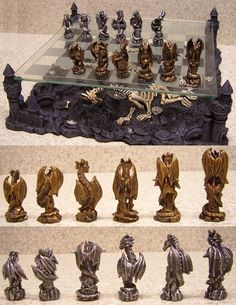 Fantasy fans will love this dragon chess set-another good option for home libraries, or even a computer games room. Jenga, Dragon Chess, Computer Gaming Room, Computer Chess, Art Through The Ages, Modern Toys, Set Game, Tsumtsum, Les Themes