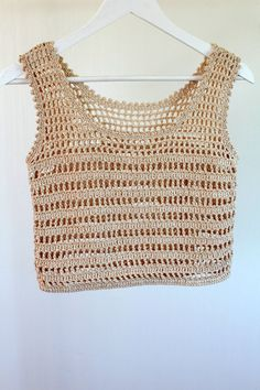 Light summer crop top for women, crochet cropped sweather, Débardeurs Au Crochet, Crochet Crop Top, Crochet Blouse, Cotton Crochet, Beach Crochet, Filet Crochet, Festival Mode, Festival Fashion, Beige Crop Tops