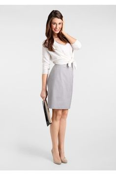 Cute work outfit. White 3/4 sleeves and light grey pencil skirt.