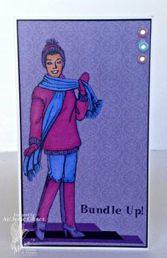 Card for Mark's Finest Papers April Release Hop: Paper Doll France, Bundle Up and Her Majesty #card #fashioncard #ladycard #marksfinestpapers @Mark's Finest Papers a HC