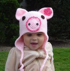 PDF Instant Download Easy Crochet Pattern No 32 Piggy Earflap sizes baby toddler child adult on Etsy, $3.99. I like the flower in the ear instead of on the hat!