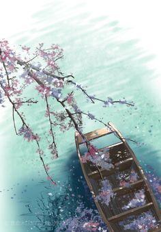 """""""Những đóa anh đào Kisagata. Vùi trong sóng nước. Thuyền ai câu cá. Chèo lướt trên hoa."""" - Tăng Saigyo Image Japon, Art Watercolor, Art Asiatique, Art Japonais, China Art, Anime Scenery, Ancient Art, Ancient China, Chinese Painting"""