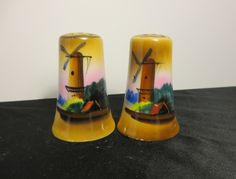 Vintage Porcelain Windmill Salt and Pepper Shakers Hand Painted Japan Dutch Gold Kitchen Retro by NewOxfordVintage on Etsy