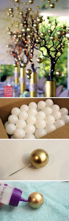 Those elegant gold balls centerpieces truly bring the perfect blend of drama and sophistication to Thanksgiving table.