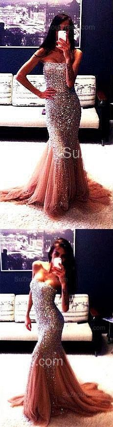 Stunning Evening Dresses Strapless Mermaid Tulle Sleeveless Crystals Sweep Train Prom Gowns
