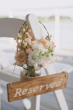 Blush and Peach Ceremony Aisle Flowers....The mason jar idea is cute.