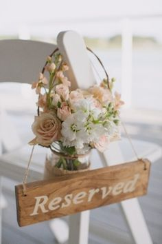 Blush and Peach Ceremony Aisle Flowers....The mason jar idea is cute.