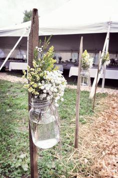 DIY Sheppards Hooks with tobacco sticks, mason jars, baby breath, Wedding Details, USMC wedding, country chic, wedding cake, burlap, dress blues grooms cake, hay bales