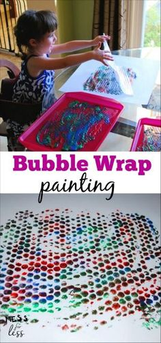 Use up that extra bubble wrap to make these colorful bubble wrap art prints with kids. Check out the less messy technique for creating these masterpieces. Click to see how to do it.