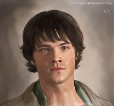 """Sammy"" ~ very nice Supernatural SPN fan art of Sam Winchester (Jared Padalecki) | by AmberJoe @ deviantArt"