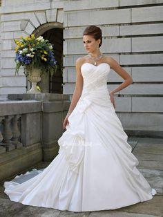 satin strapless sweetheart a-line asymmetrical draped side pick-ups bow wedding dress