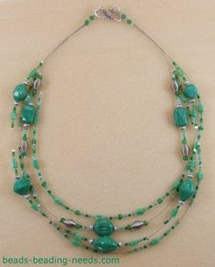 Necklaces, like this multi-strand jade bead necklace pattern, can use a variety of jewelry making beads and provides a great opportunity for using up leftovers including your bead findings.