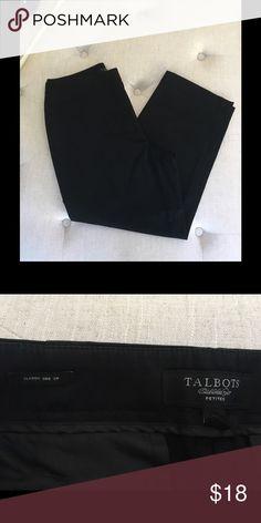 "Talbots black side zip Cropped pants Talbots black Capri pants. Excellent condition, worn very little. Classic side zip. Size 6 petite. Inseam 22"" Talbots Pants Capris"