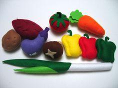 Felt play food vegetables
