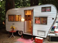 "Vintage camper ""with the lights on...so inviting"""